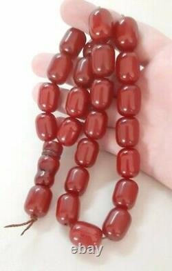110.5 Grams Antique Faturan Cerise Bakélite Ambre Perles Rosaire Misbah Marbré