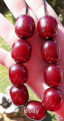 110 Grammes Antique Faturan Cherry Amber Big Beads Rosary Collier Marbré