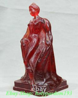 11 Chine Red Amber Carving Dynasty Palace Beauties Siège Femme Sculpture