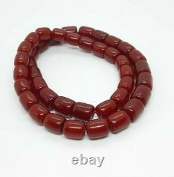 122.3 Grammes Antique Faturan Cherry Amber Beads Collier Marbré
