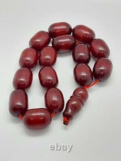 128.5 Grams Antique Faturan Cherry Amber Bakelite Perles De Prière Tesbih Misbah