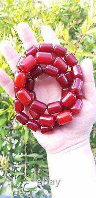 130.3 Grammes Antique Faturan Cherry Amber Bakelite Collier Perles Marbrées