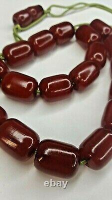 144g Antique Misbaha Faturan Cerise Ambre Bakélite Collier De Perles De Prière Worry