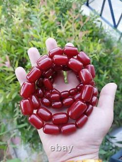 156.6 Grams Antique Cherry Ambre Faturan Perles Collier