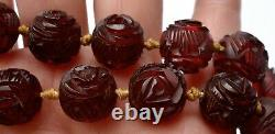 1930's Chinese Dark Cherry Amber Bakelite Carved Carving Bead Collier