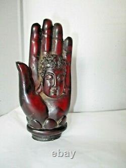 1930's Genuine Carved Chinese Cherry Amber Hand Of Buddha 73.8 Grams - Rare