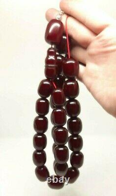 293 Gr Antique Faturan Cherry Amber Bakelite Rosary Perles De Prière Marbrées