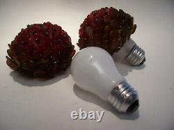 2 Antique Tchèque Fleur De Verre Rouge / Amber Beaded Bulb Cover Shades Rewoven 3 1/2