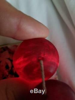 335 G Collier De Cerise Bakélite (faturan, Perles Ambre) Imitation Antique Vintage