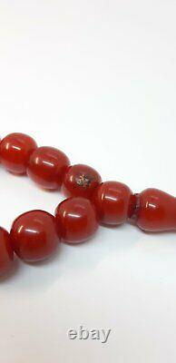 33.7 Antique Faturan Cherry Amber Prayer Rosary Perles Misbah Marbled