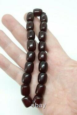 36.3 Grammes Antique Faturan Cherry Amber Beads Marbled