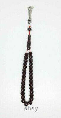 42.6 Grammes Antique Faturan Cherry Amber Bakelite Prayer Beads Rosary Misbah