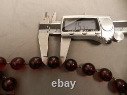 42 Antique Art Déco Rond Cherry Amber Bead Collier, 127gr, 16mm Estate Fresh