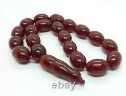 44 Grammes Antique Faturan Cerise Amber Chapelet Perles De Prière Marbrées