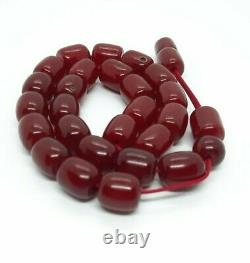 49.5 Grammes Antique Faturan Cherry Amber Rosary Prayer Beads With Veins/marbled