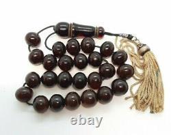 50.6 Grams Antique Faturan Cherry Amber Bakelite Perles De Prière Rosary Misbah