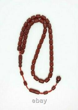 55,5 Antique Ottoman Grams Faturan Cerise Ambre Rosaire Prière Tesbih Misbah Perle
