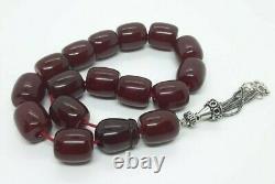 60.4 Grams Antique Cerise Perles De Bakélite Ambre