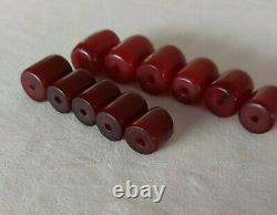 61.6 Antique Cerise Ambre Faturan Bakelite Perles Collier Marbré