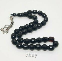 61.8 Grammes Antique Faturan Cherry Amber Bakelite Prayer Beads Rosary Misbah