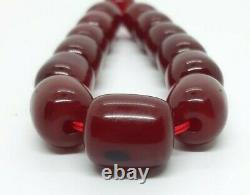 63.1 Grams Antique Cerise Bakélite Ambre Perles Damari/veins