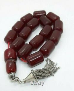 69 Grams Antique Faturan Cerise Ambre Rosaire Perles De Prière Marbrées