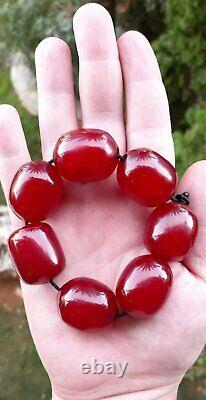 83.1 Grammes Antique Faturan Cherry Amber 7 Big Beads Veins/damari