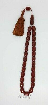 89 Grams Antique Ottoman Faturan Cerise Prière Ambre Perles Tesbih Misbah
