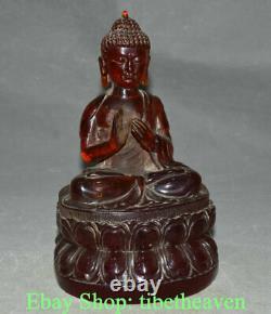 8.4 Vieille Statue Chinoise De Sculpture De Bouddha D'ambre Rouge Shakyamuni Amitabha