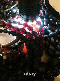 8 Colliers À Facettes Bakelite Ambre Cerise 301 Grammes Antique Art Déco Gradué