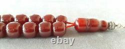 90 Grams Antique Faturan Cerise Bakélite Ambre Perles Rosaire Misbah Marbré