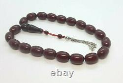91 Grams Antique Faturan Cherry Amber Ottoman Bakelite Rosary Perles De Prière