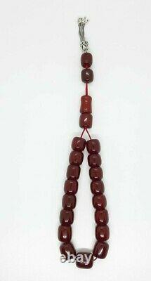 93 Grammes Antique Faturan Cherry Amber Bakelite Rosaire/prière Perles Damari/veines