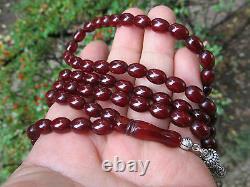 99 Antique Cherry Amber Bakelite Bernstein Gebetskette Prière Perles Ramadan Cadeau
