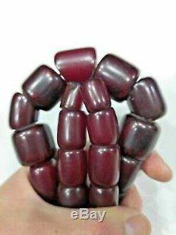 Allemagne Cherry Amber Faturan Bakélite Antique 1920 Perles Collier Islamiques
