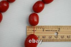 Anciennes Art Deco Rouge Cerise Amber Bakélite Teste 140gr Perles Collier