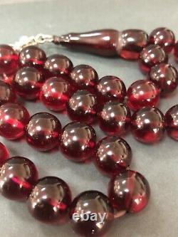 Anciennes Cerise Ambre Faturan Bakalite -islamic Prière 33 Perles 68g R