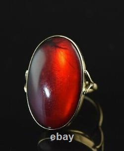 Antique 10k - Red Baltic Amber Ring Sz 4.5 #365