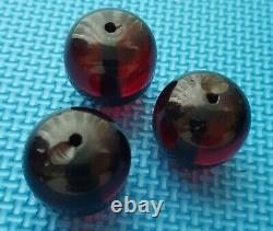 Antique 3 Véritables Grandes Perles D'ambre Cerise Bakelite Faturan 30mm