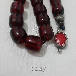 Antique Allemand Authentique Faturan Cerise Ambre Bakélite Perles De Prière 70 Gr