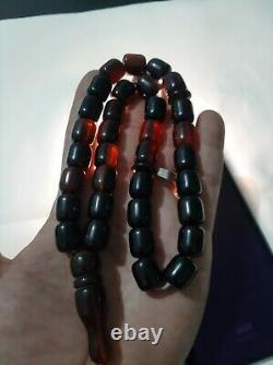 Antique Allemand Authentique Faturan Cerise Ambre Bakelite Perles De Prière 80 Gr