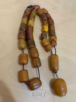 Antique Allemand Cherry Amber Vignes Damari Faturan Bakélite Grande Perles De Prière 245 G