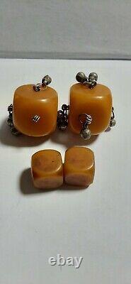 Antique Allemand Misky Bakélite Cerise Ambre Faturan Cube Beads 88 Gram