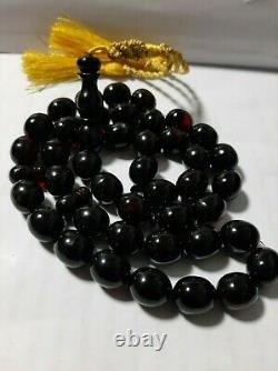 Antique Allemande Faturan Bakelite Cerise Ambre Prière Nouvelle Coupe Tasbih Beads 69,5 Gr