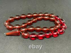 Antique Amber Bakelite Perles De Prière De Cerise Rosaire 1519 Rare Simichrom Test 106g