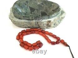 Antique Amber Faturan Red Cherry Bakelite Catalin, Perles De Prière Préoccupantes Tesbih
