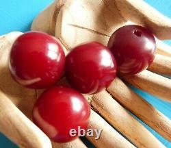 Antique Amber Red Cherry Bakelite Faturan Prayer Beads Ottoman Lot Perles