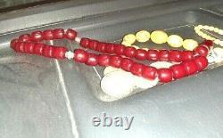 Antique Ambre Bakélite Bakélite Cherry Amber Prière Tasbih Perles 142,6 Gram