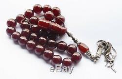 Antique Ambre Faturan Rouge Cerise Bakélite Catalin, Perles Worry Prière Tesbih