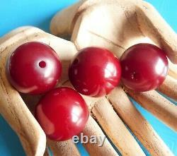 Antique Ambre Rouge Cerise Bakélite Faturan Perles De Prière Ottoman Lot Perles